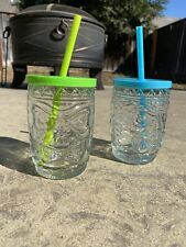 New listing Glass Tiki Cups With Straw And Lid Set Of 2