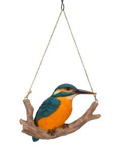 Vivid Arts Hanging Kingfisher on Branch - Hanging Garden Ornament (HGF-016)