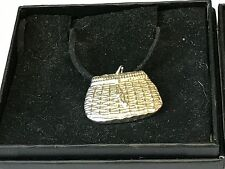 "Fishing Basket TG22 English Pewter On 18"" Black Cord Necklace"