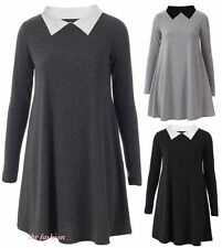 WOMENS LADIES LONG SLEEVE PETER PAN COLLAR PLAIN STRETCHY JERSEY SWING DRESS