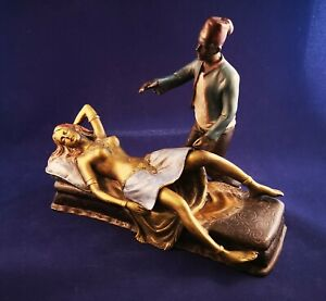 Austrian Cold Painted Bronze Naked Girl in Bed with Moroccan man F Bergmann.