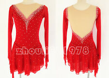 Custom Ice Figure Skating Dresses skating costumes For Adults or Girls Red
