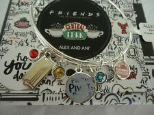 Alex and Ani FRIENDS, COUCH AND PIVOT Shiny Silver Bangle New W/Tag Card & Box