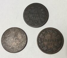 Lot of (3) Austria Kreuzers 1852, 1863, 188?