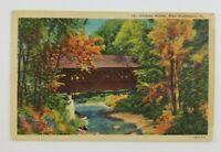 Postcard Linen Covered Bridge in West Battleboro Vermont