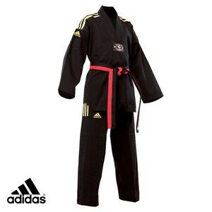 New adidas Taekwondo Uniform adidas CHAMPION Dobok Set-BLACK w/Yellow 3 Stripes