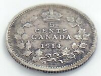 1914 Canada Five 5 Cent Small Silver Circulated Canadian George V Coin J613