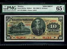 "Mexico RARE $10 Pesos""SPECIMEN""El Banco Mercantil De Monterey 1906-1911 PMG 65"