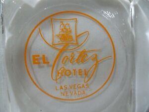 El Cortez Hotel Casino Las Vegas Vintage 1940's Glass Ashtray Orange Script