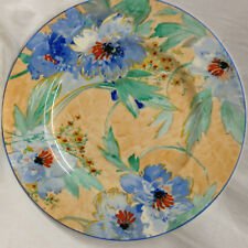 "ROYAL STAFFORDSHIRE ARTHUR WILKINSON LUNCHEON PLATE 9"" BLUE FLORAL ON YELLOW"