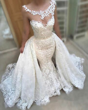 2018 New Lace Mermaid Wedding Dresses Wedding Gowns with Detachable Train Custom