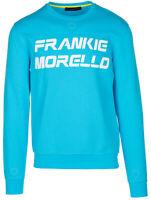 Frankie Morello Men's Blue Cotton Logo Crew Neck Pullover Sweatshirt - M - Blue