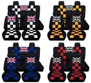 Checkered Car Seat Covers Mini Cooper 2016-2020 Personalized Union Jack ABF