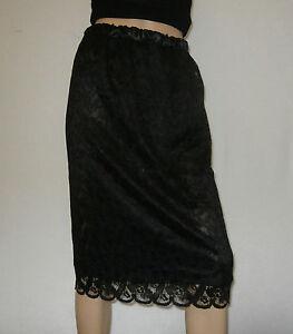 "Ladies / Womens Black Lace Column / Midi Skirt 27"" Calf Length Size 10-12 Lined"