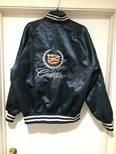 VTG 80s Cadillac Bomber Jacket Size XL Embroidered Logo Navy Blue Made In USA