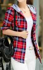New Women girl Fashion Korean Fall Long Sleeve Top Plaid Check T Shirt Coat Hood