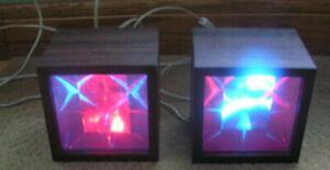 Vintage Electric Disco Cube Light Walnut Veneer Box set of 2