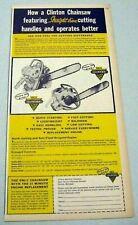 1969 ADVERTISEMENT Chainsaw Root Lumberjack Clinton Bobcat 454 Electr-O GE Motor