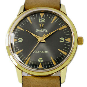 Omega 1966s Seamaster Automatic Date Grey Dial Mens Gold Plated Watch