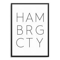 Poster HAMBURG CITY Kunstdruck ArtPrint Stadt Typographie Typo HAMBRG CTY