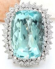 26.70CTW NATURAL AQUAMARINE AND DIAMOND RING IN 18K WHITE GOLD