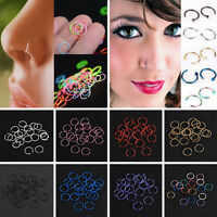 40Pcs Nose Ring Surgical Steel Nose Piercing Lip Hoop Ring Stud Piercing Jewelry
