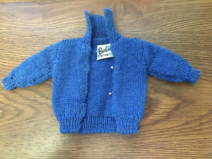 Vintage Barbie Doll Sweater Blue CardiganKNITTING PRETTY Outfit #957