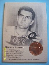 "1967 Authenticated Ink ""Centennial Coin Card"" Montreal Canadiens Maurice Richard"