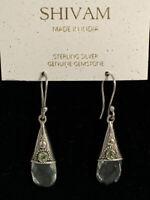 SHIVAM Sterling Silver Made In India Green Peridot Amethyst Drop Earrings NEW