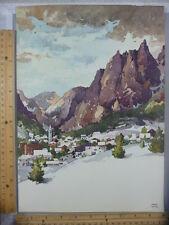 Rare Original VTG Snow Village Mountains Garnet Hazard Illustration Art Print