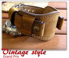 Genuine Leather Watch Bund Strap Men Band Brown Vintage Style Size 16/18/20/22mm