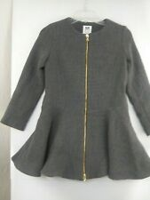 Milly Minis Girls sz 12 Zip Front Gray Wool Blend Winter Dress