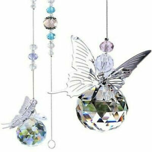2Pc Crystal Home Decor Hanging Ornament Pendant Butterfly Prisms Ball Suncatcher