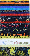 Island Batik Fire Island Blue Red Black Batiks Jelly Roll Strips Pack 40 2.5""