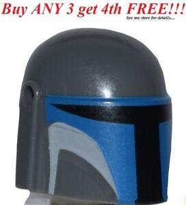 ☀️NEW Lego Minifig Headgear Starwars SW Mandalorian Dark Bluish Gray Helmet