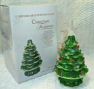 "NIB, ""CHRISTMAS IS FOREVER CERAMIC LIGHT-UP GREEN CHRISTMAS TREE"" w/ Color Bulbs"