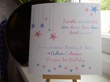 Handmade Personalised 'Twinkle Twinkle' Twins Birthday Card 1st 2nd 3rd 4th etc