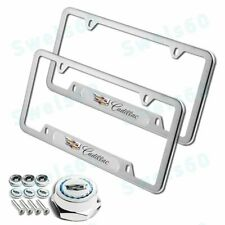 NEW Set 2PC For CADILLAC Silver Stainless Steel License Plate Frame w/ Screw Cap