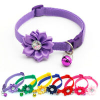 Pet Adjustable Bell Collar Rhinestone Flower Kitten Cat Puppy Dog Buckle Collars