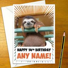 SLOTH Personalised Birthday Card - sloths boy girl cute funny personalized happy