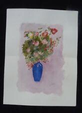 Aquarelle originale de Vaubourg : bouquet de fleurs