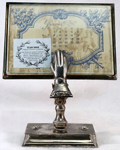 Antique Silver Plate Hand Shaped Paper Clip Stand Note / Calendar Holder