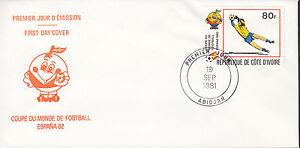 01140+  FDC ENVELOPPE 1er JOUR COTE D'IVOIRE FOOT COUPE DU MONDE FOOT ESPANA 82