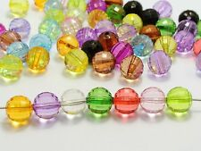 "100 Mixed Colour Transparent Acrylic Faceted Round Beads 10mm(3/8"") Disco Ball"