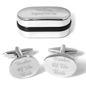 Brother Of The Bride Cufflinks Engraved Gift Box Personalised Wedding Favour