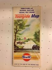 1965 Gulf Pennsylvania Delaware Maryland Virginia W.Virginia Map - NEAR PERFECT