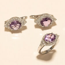Natural Panorama Amethyst Jewelry Set 925 Sterling Silver Women Fine Jewelry New