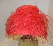 Fab 1960's Style Maryjean Red Bucket Hat w Loads of Ostrich Feathers Nwt