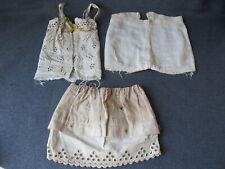 Antique lace & cotton fabric doll clothes 3 pieces needs tlc