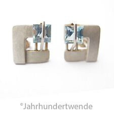 Modernist Silber Ohrringe Ohrstecker blau Topas silver earrings art deco 🍀🍀🍀
